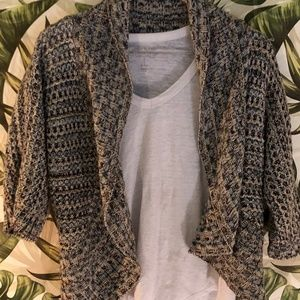 Missoni-style woven wrap sweater